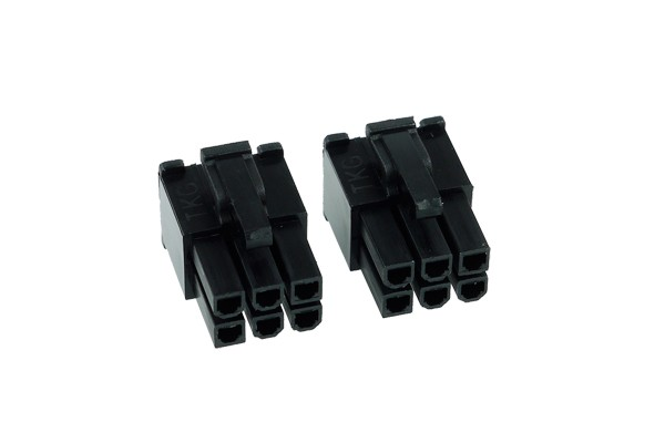 Phobya VGA Power Connector 6Pin Stecker (6-eckig) inkl. 6 Pins - 2 Stück Black
